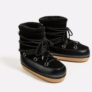 Zara Lace Up Fur Lined Moon Ski Ankle Boots